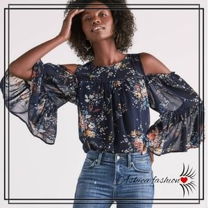 3723587b25e23c Lucky Brand Printed Cold Shoulder Top